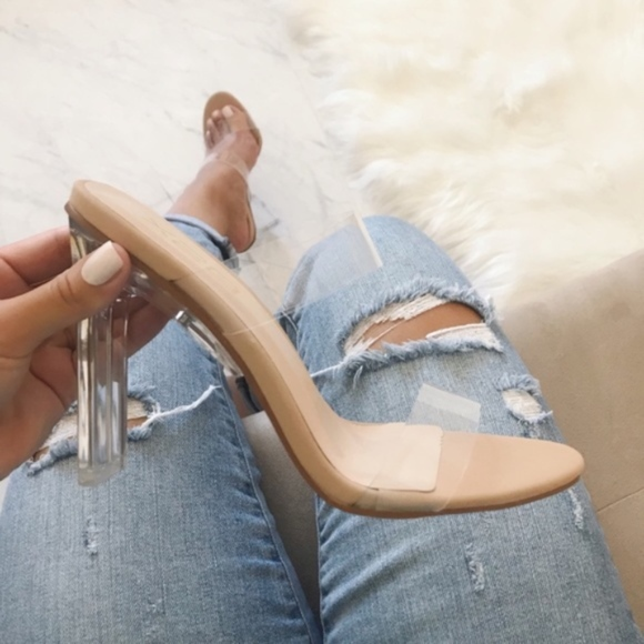 Shoes   Clear Double Strap Nude Heel